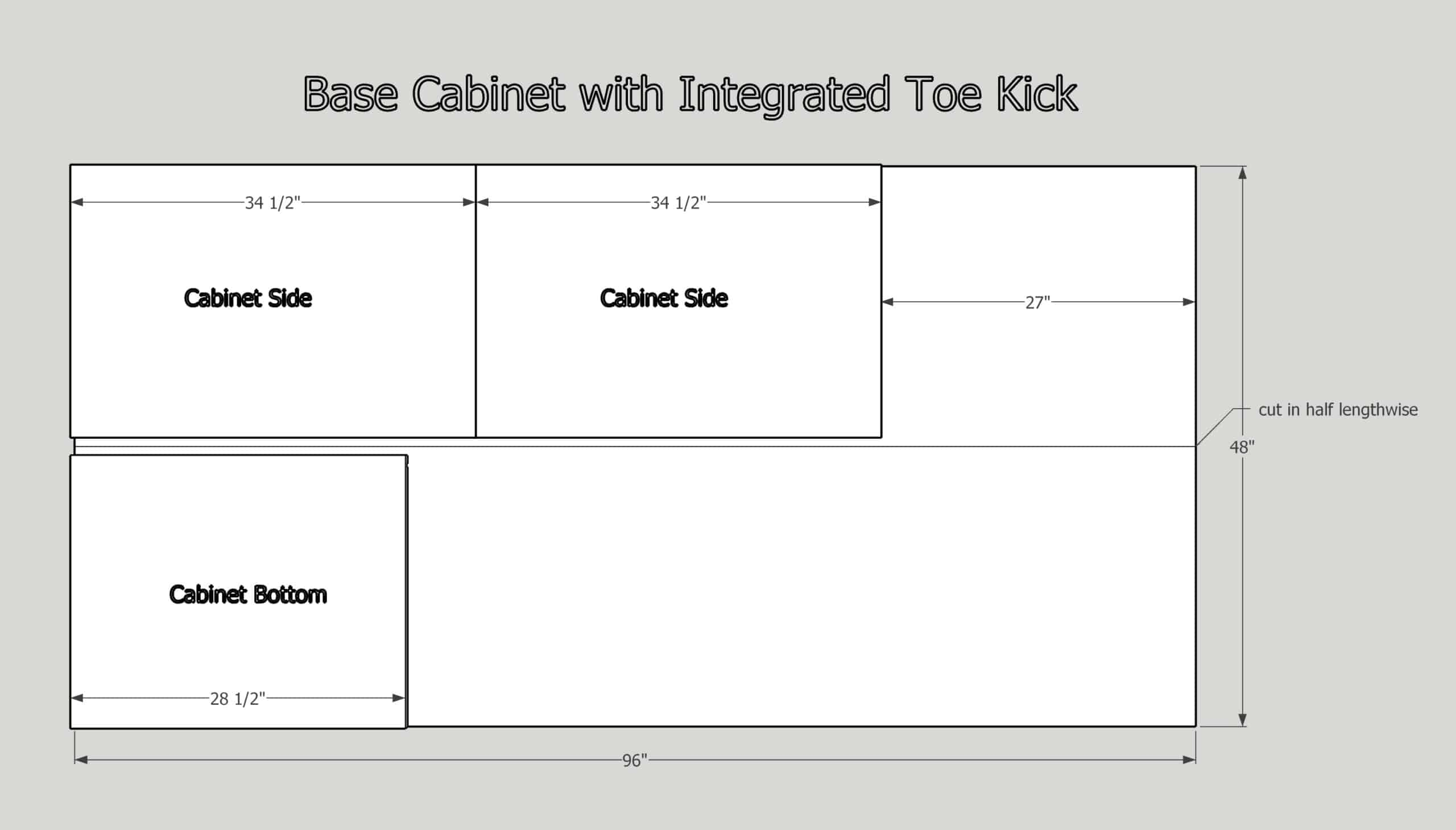 """plywood cut diagram for 30"""" base cabinet with integrated toe kick"""