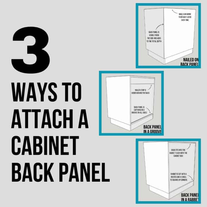 how to attach a cabinet back panel 3 different ways
