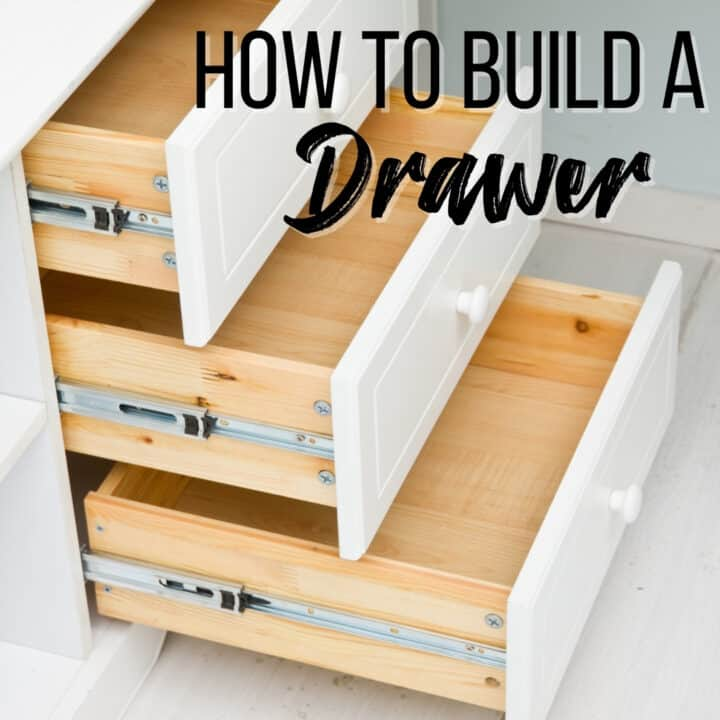 """three drawers pulled out of a cabinet with text overlay """"how to build a drawer"""""""