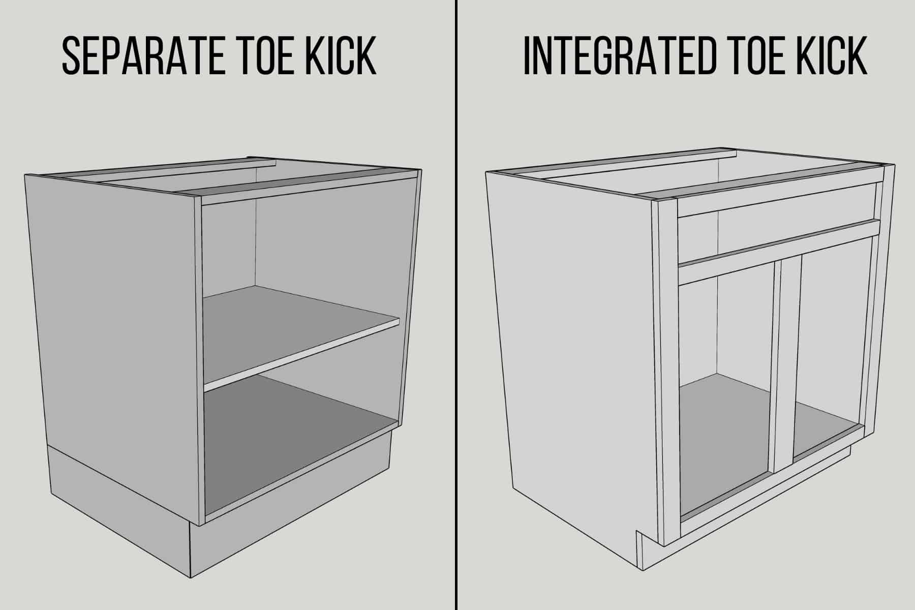 two different cabinet toe kick styles - separate toe kick and integrated toe kick
