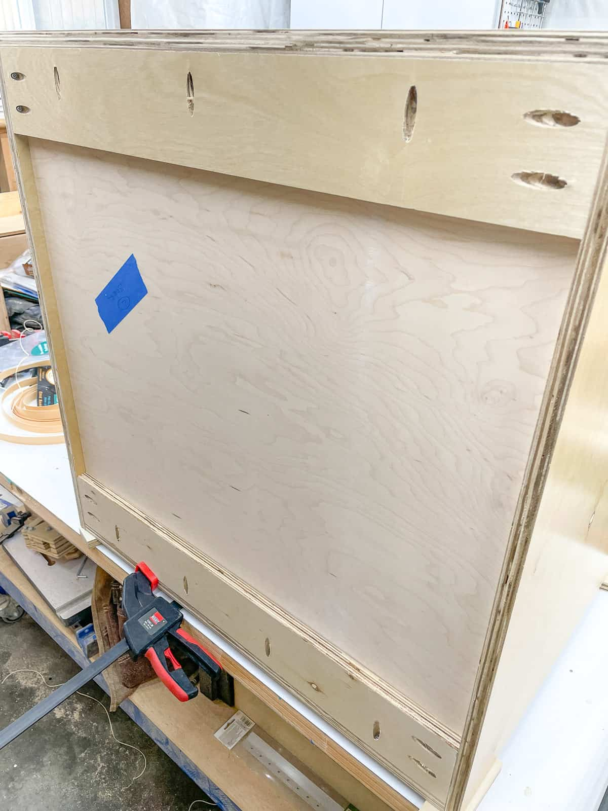 back of a cabinet box with nailer strips