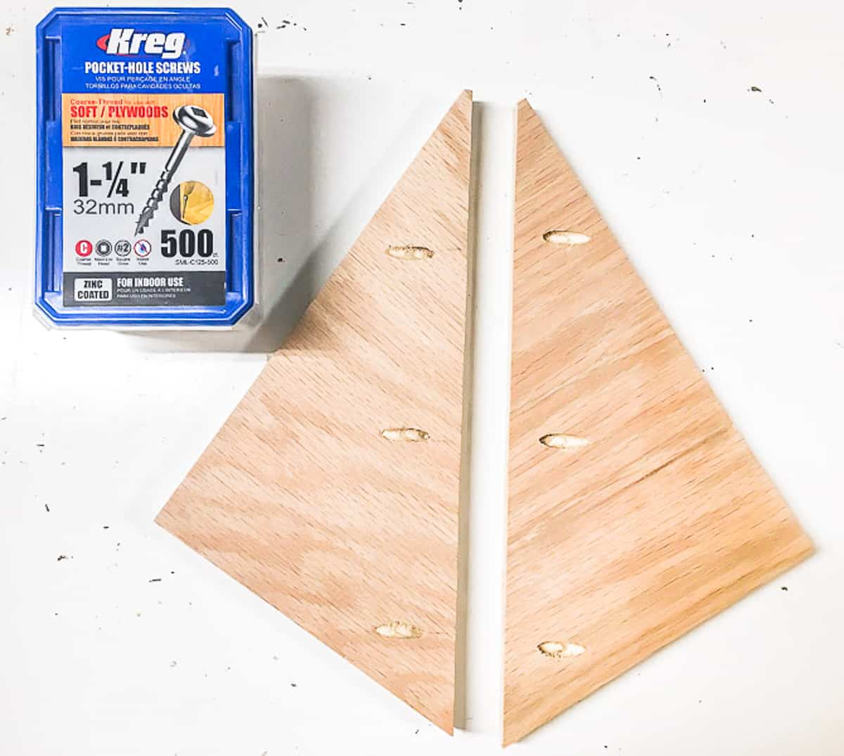 pieces for circular saw storage rack with pocket holes down one side