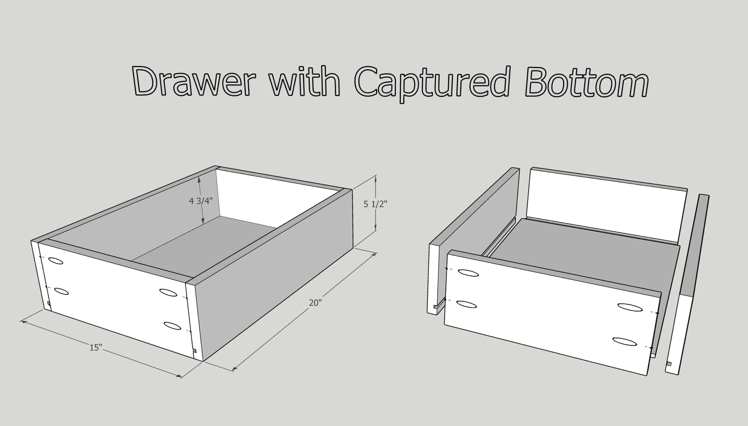 how to build a drawer with a captured bottom