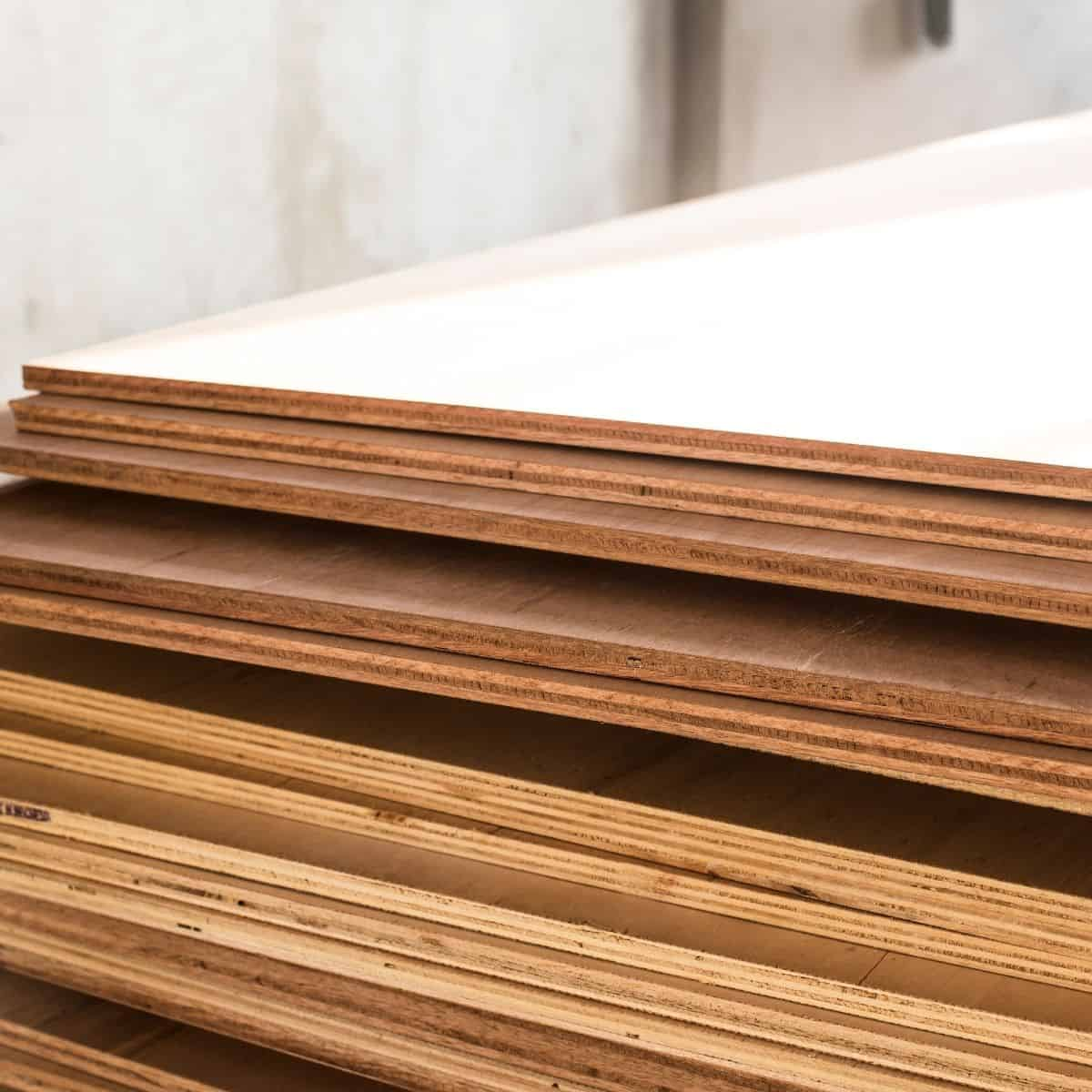 layers on edges of plywood visible in stack