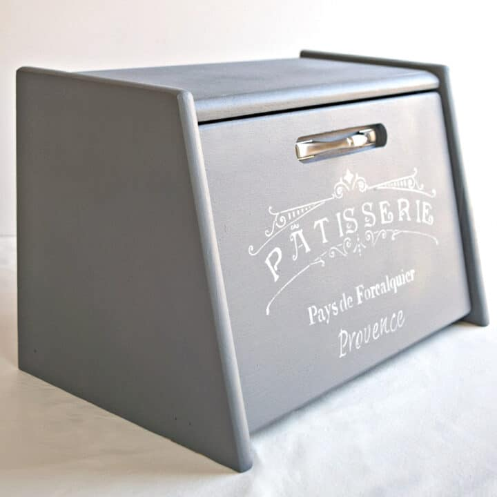 painted bread box with vintage stencil