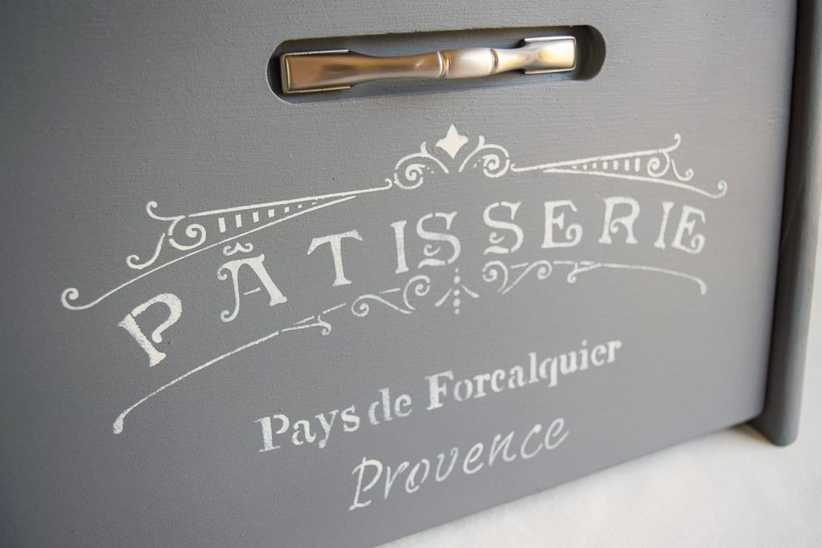 painted bread box with vintage stencil and metal handle