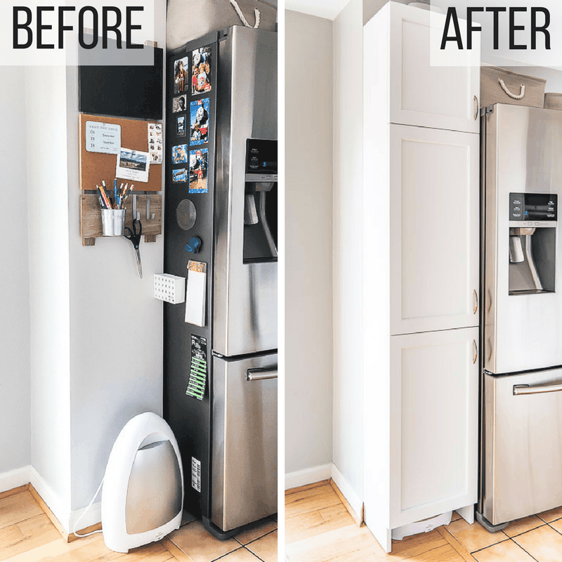 before and after of pantry cabinet space in kitchen