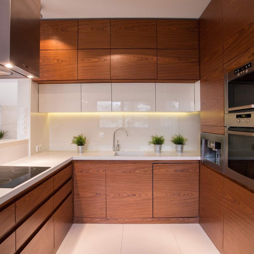 flat front cabinets with push to open doors and drawer slides