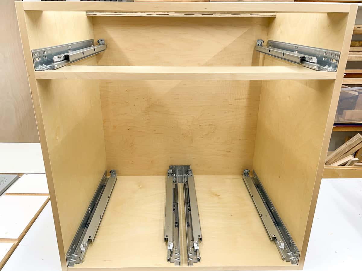 Blum undermount drawer slides in a cabinet